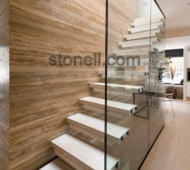 Italian Silver Walnut Travertine Vein Cut